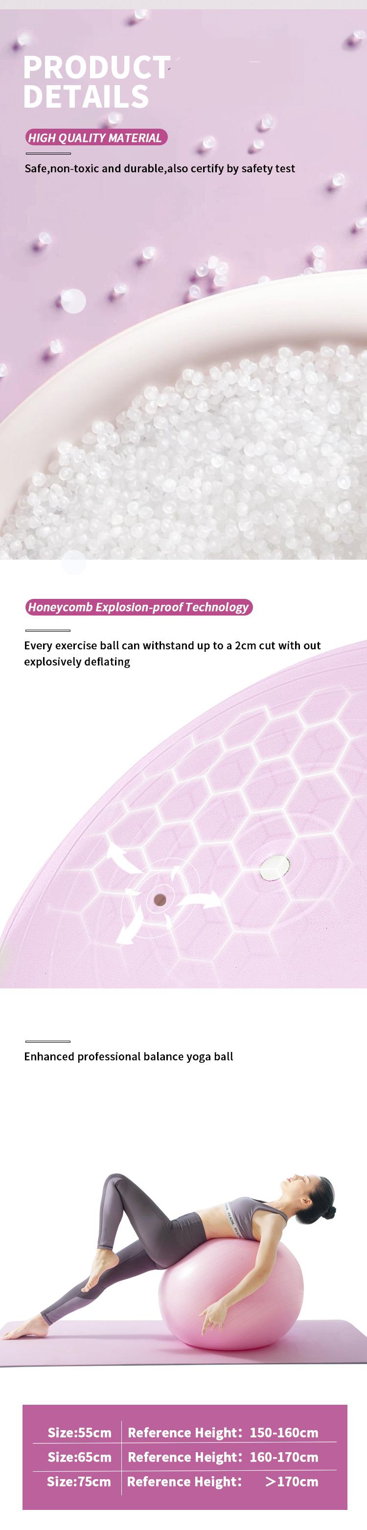 Eco-friendly gymnastics training 65cm gym exercise yoga ball