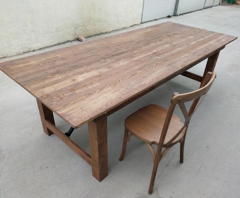 Складной обеденный стол из массива дерева антикварного цвета для фермерского хозяйства