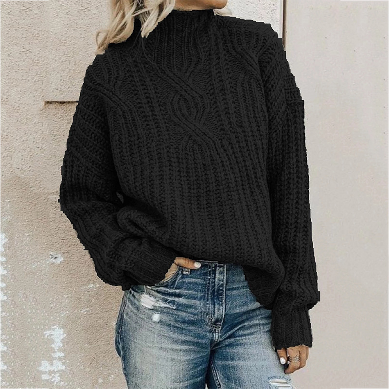 Factory Custom Plus Size Pullover Loose Knitted Women Turtleneck Sweater