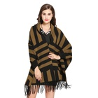 Stripe Coat Korean Oversized Large Stripe Fringe Thickened Autumn Winter Knitted Coat Shawl With Sleeves