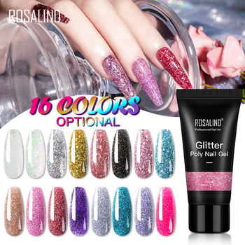 Rosalind nail art supplies 30ml quick extension gel varnish oem private label soak off glitter color poly nail gel polish