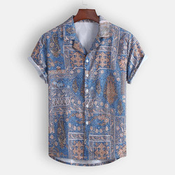 Camisas masculinas men hawaii shirt 2021 Summer Fashion Casual Lapel Print Short Sleeve Shirt Top Blouse chemise homme