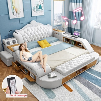Multifunctional Princess Leather Bed Room Electric Massage Beds With Storage And Usb Space Saving Bedroom Set Furniture