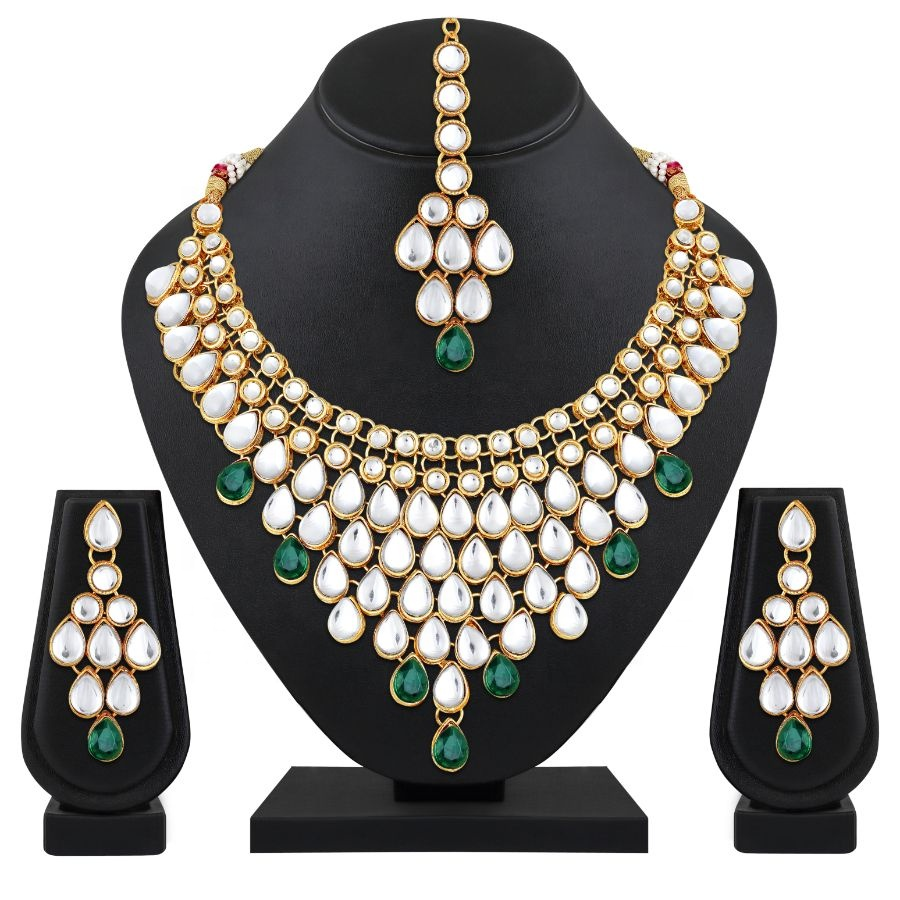 Aheli Exquisite Wedding Party Wear Faux Kundan Pearl Beaded Necklace and Earrings Set Indian Ethnic Jewellery for Women