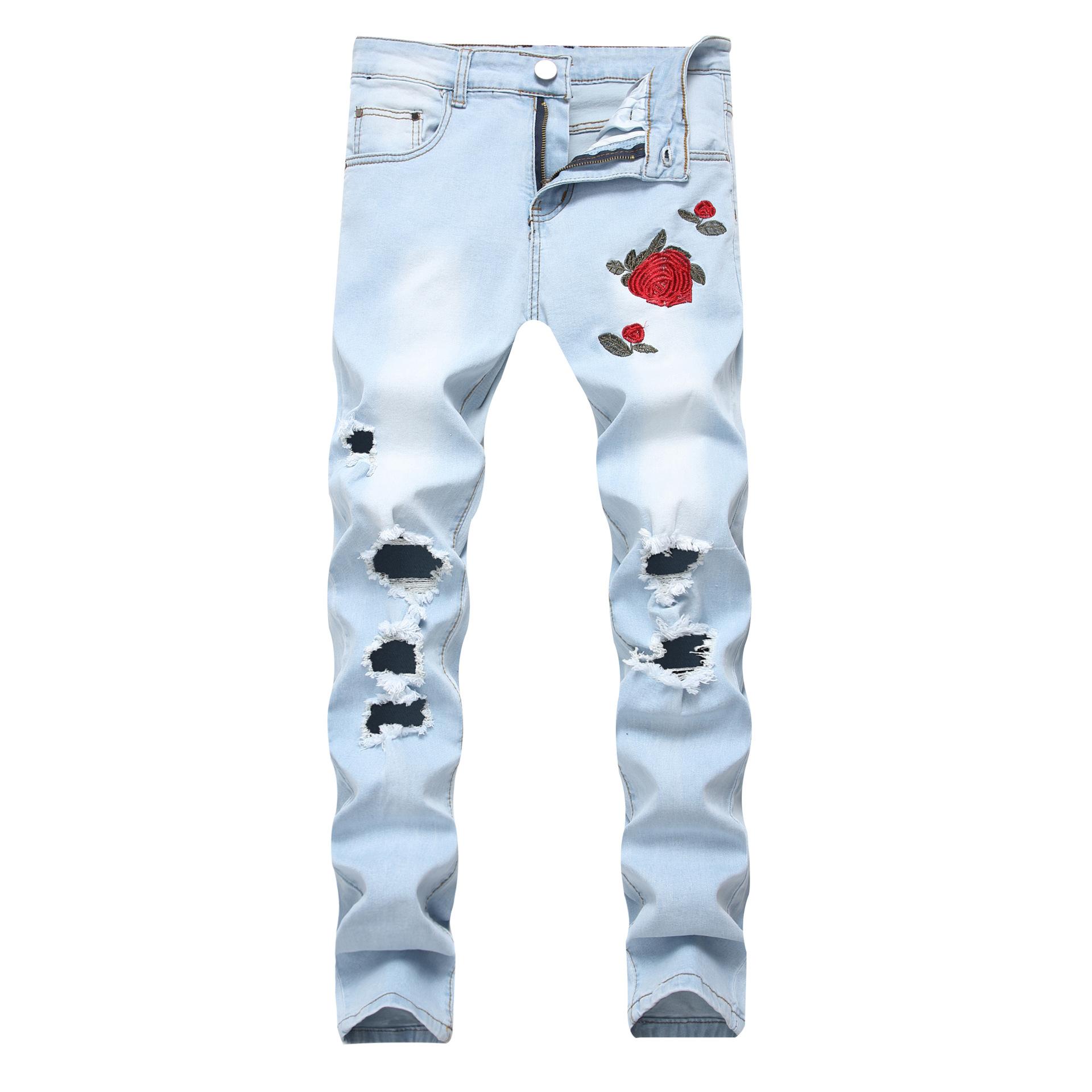 Pantalones Vaqueros Bordados De Color Rosa Para Hombre Pantalon Azul Claro Con Agujeros Elasticos Ajustados Y Grandes Buy Hombre Vaqueros Skinny Product On Alibaba Com