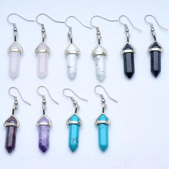 E1061 Wholesale BOHO handmade small gemstone amethyst rose quartz howlite crystal quartz point earrings for wom