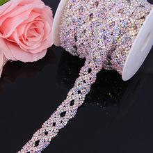 1 розовое золото 2/4 ряд горный хрусталь для отделки, Аппликации Стразы с кристаллами, отделка с прозрачной цепью, Серебряная Золотая лента дл...(Китай)