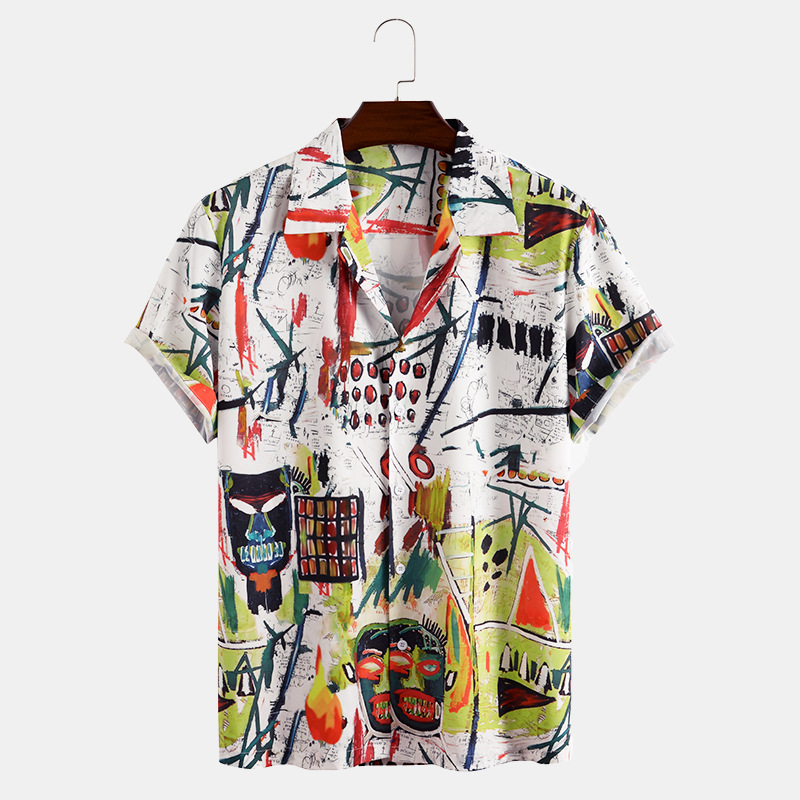 puls size Shirt for Mens Hawaiian chemise homme Style digital Printing for Men Design fat Regular Fit Buttons Clothings Shirts