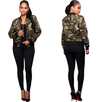 Amazon Standard Size Long Sleeve Army Green Jacket Women Autumn Military Camouflage Jacket