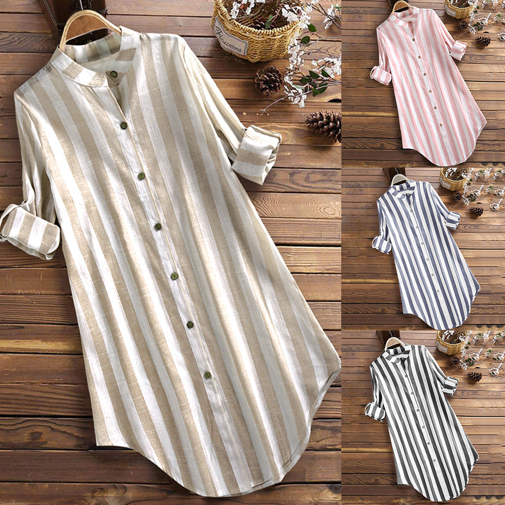 Women Striped Loose Shirt Dresses Long Sleeves Casual Fashion Spring Summer New African Large Size Ladies Vestidos Female S-5XL