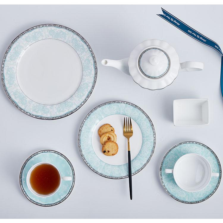 Chinese custom made print ceramic porcelain grand-rimmed creative dinner plates tableware set bone china with logo