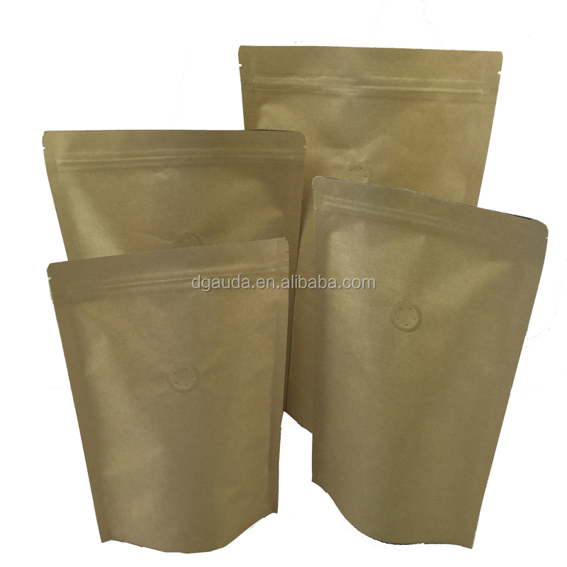 customized design resealable biodegradable stand up zipper kraft paper bag for snacks