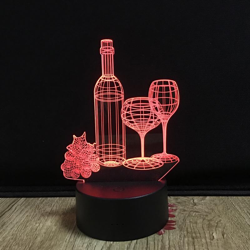 Кубок бутылки вина 3D цветная (RGB) Светодиодная лампа 3D Иллюзия ночник лампа винный бар украшения 7 цветов изменить светодиодные настольные лампы