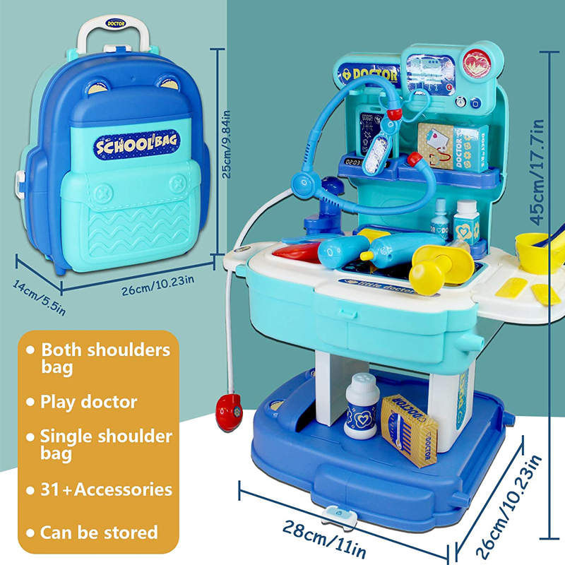 Newest Product Preschool Kids Toy Play House 2 in 1 Doctor Role-Play Toys Set Medical Tool Backpack Doctor Kit for Kids