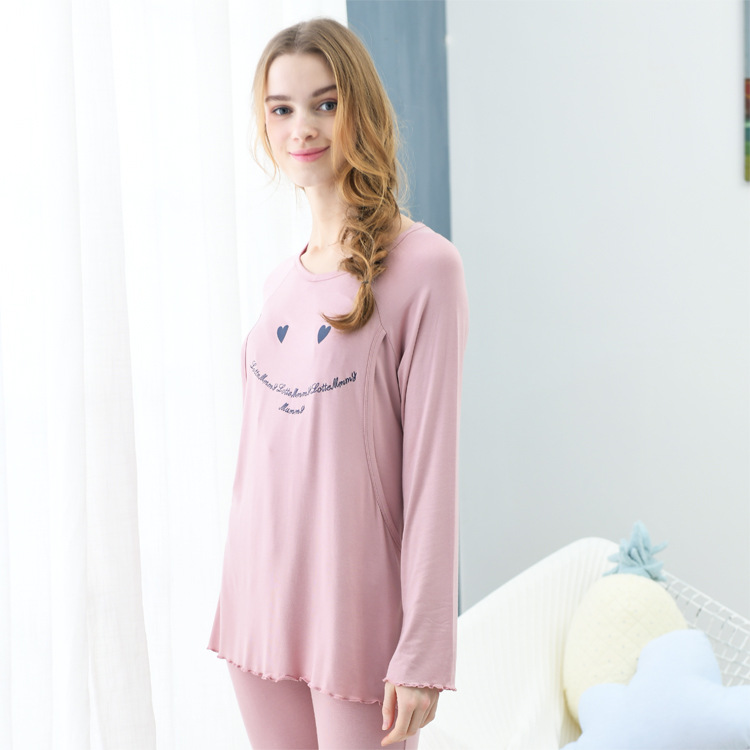 New Arrivals Plain Loose Printed Women Pregnant Nursing Clothing Long Stretch Sleeve Breastfeeding Suit Maternity Clothes Sets