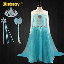 Летний нарядный костюм Эльзы с длинным плащом для девочек; Элегантное платье принцессы из блестящей ткани для девочек; Платье Снежной Корол...(Китай)