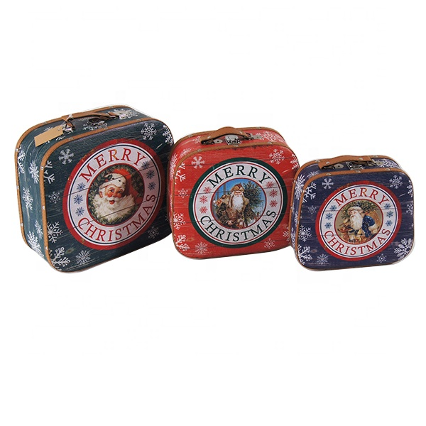 2020 Home Products Highly Durable Vintage Rectangle Set of 3 Christmas Design Wooden Storage Suitcase