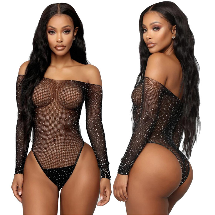 Mesh Sheer Underwear Transparent Bodysuit Women lingerie sleepwear