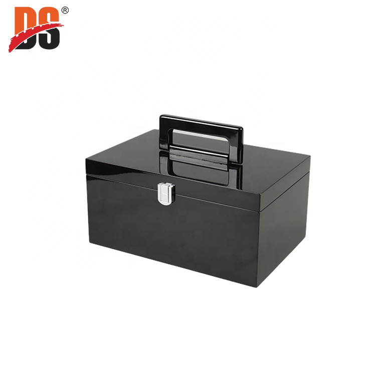 DS Customized Luxury wooden Jewellery Box Glossy Black Wooden Gift Boxes With Handle