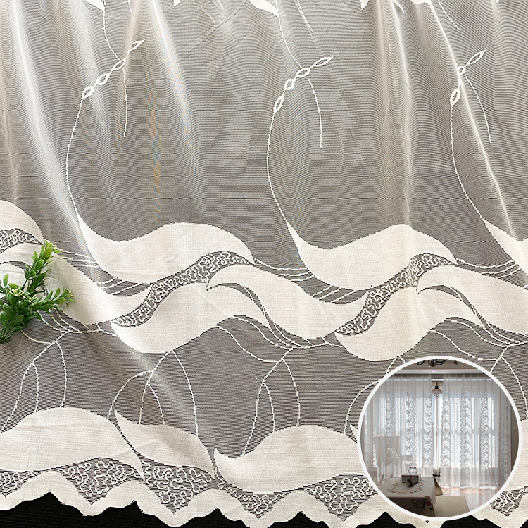 Home voile wedding white knit jacquard polyster mesh sheer curtain upholstery fabric