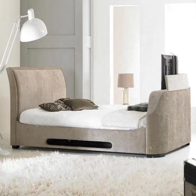 under bed tv lift new design fabric leather bed with tv good quality bedroom furniture tv bed