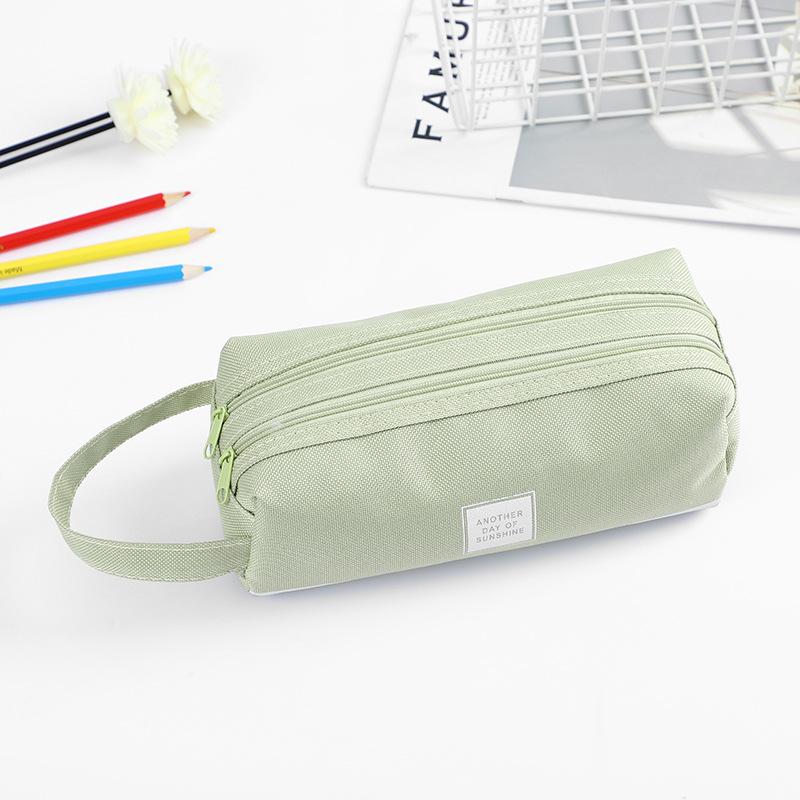 Solid Canvas Pencil Pen Bag Large Capacity Creative Korea Fabric Pencil Case For School