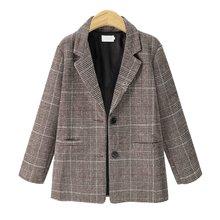 Весенний винтажный клетчатый блейзер для женщин, твидовый женский офисный костюм, пальто с длинным рукавом, повседневные блейзеры, куртки д...(Китай)