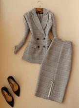 Приталенный Модный высококачественный двубортный костюм для отдыха, офисный женский клетчатый блейзер + юбка, Женский комплект(Китай)