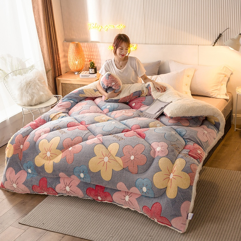 Hot selling Lamb quilt winter blanket double-sided velvet quilt thickened warm autumn spring plush comforter core