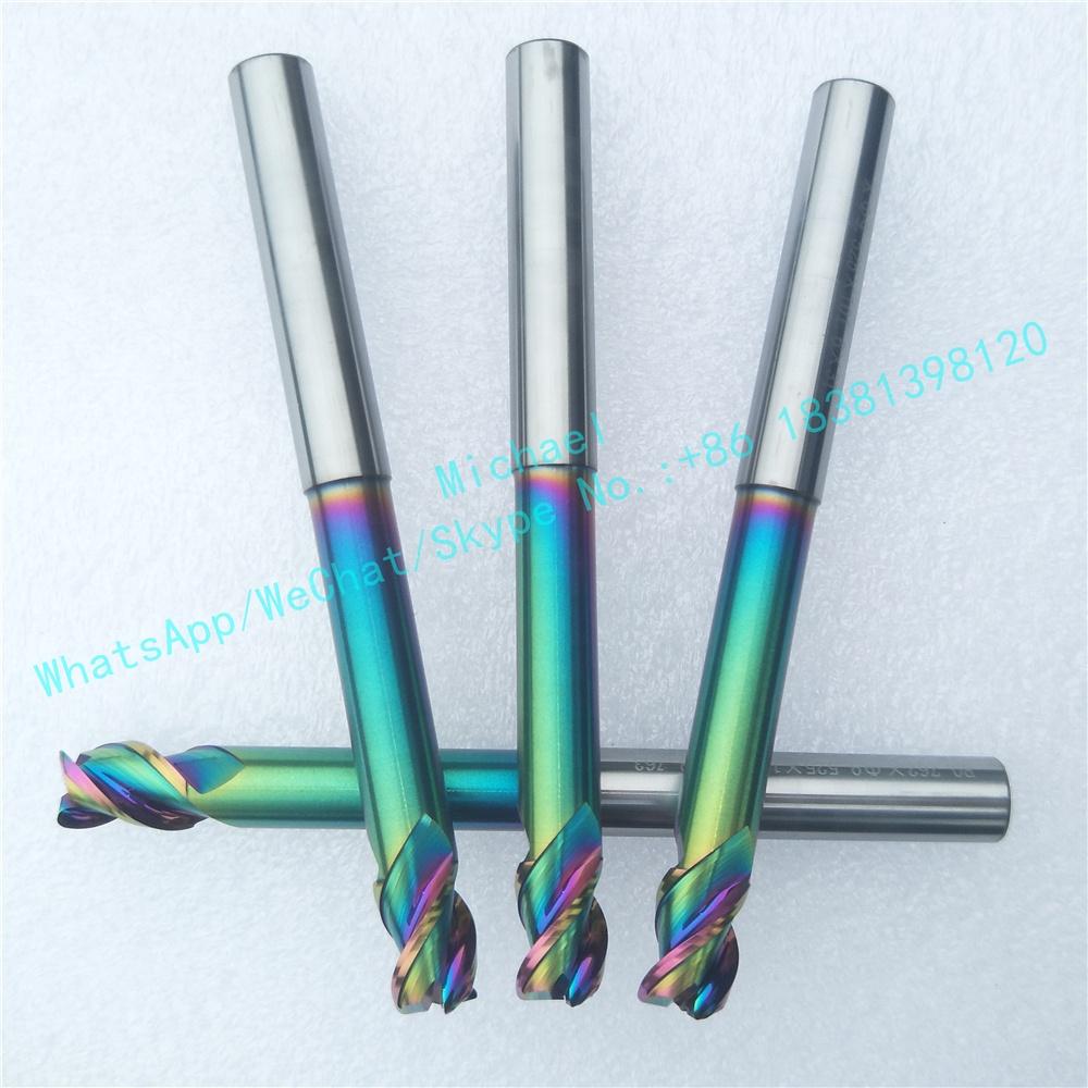 Фабрика-корректирующий фигуру, оптовые поставки от 3-Flute карбидовые концевые фрезы с снимает DLS напыление для алюминия