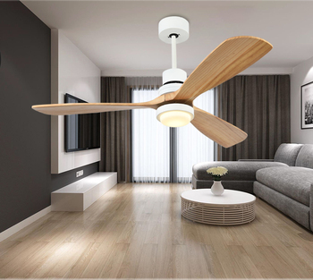 52 inch 3 solid wood blades decorative tricolor ceiling fan with LED light