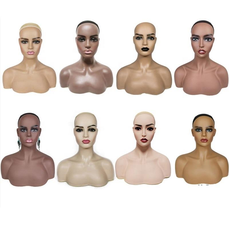 Голова манекена из ПВХ с плечами, женский манекен для демонстрации парика, голова манекена в афроамериканском стиле, женский манекен, голова и бюст