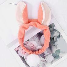 Женская бархатная повязка на голову с большими заячьими ушками из искусственного меха, мягкая эластичная резинка для волос, милые аксессуа...(Китай)