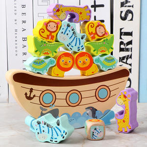 Eco-friendly Paint Educational Toy Cartoon Animals Building Blocks Wooden Toddler Balance Toys