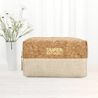 Organic Natural Eco Friendly Organic Cotton Canvas Zipper Packaging Pouch Natural Recycled RPET Linen Cork Makeup Cosmetic Bag