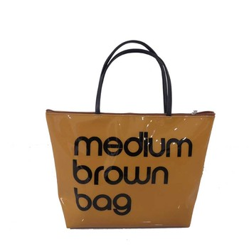 Fashion durable glossy pvc shopping hand tote bag medium brown bag with zipper closure