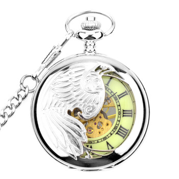 Antique Manual Mechanical Silver Skeleton Luminous Dial Mens One Piece Pocket Watch