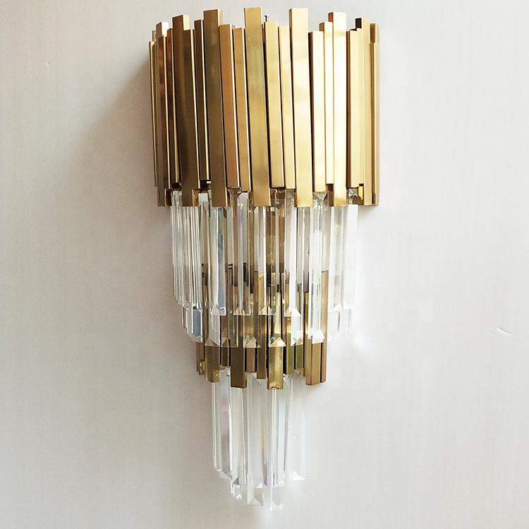 Оптовая продажа, промышленный бра цвета шампанского из нержавеющей стали золотого цвета, красивый хрустальный настенный светильник для отеля, ресторана