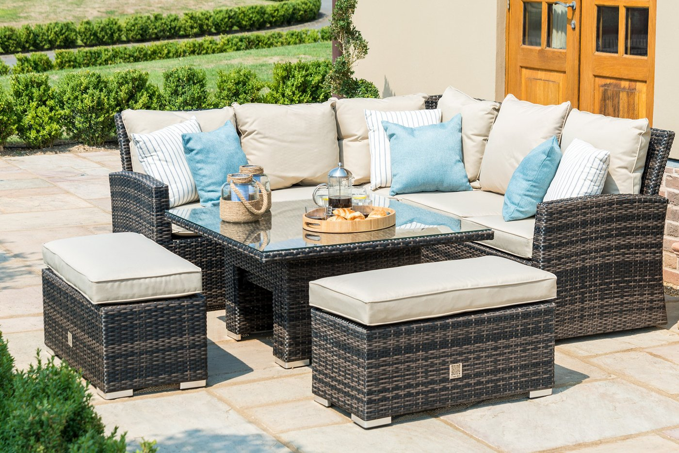 Hot Rattan Winchester Royal Corner Dining Set With Ice Bucket Rising Table Corner Sofa Set In Winchester