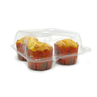 PET disposable clear plastic cup cake dessert 4 Compartment cupcake plastic containers
