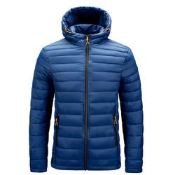 Wholesale Custom Men's Ultra Lightweight Padded Pure Plain Color Winter Men Outdoor Windproof Hooded Winter Down Jacket