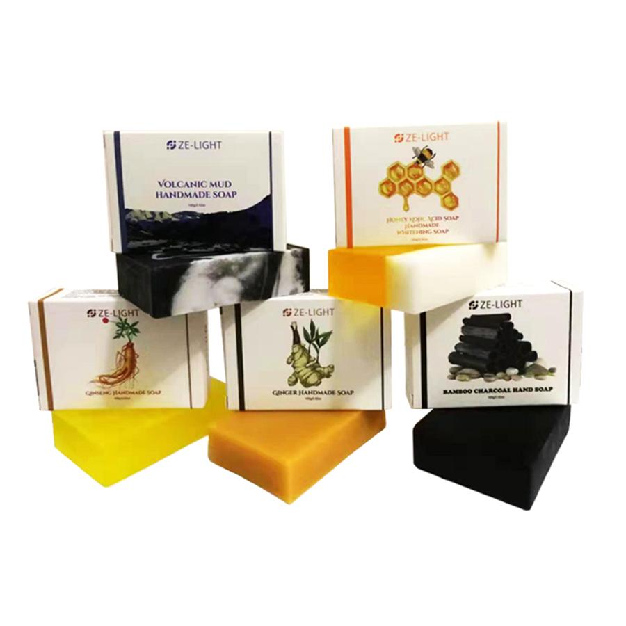 Натуральный органический имбирный женьшень ZeLight, вулканическая грязь, бамбуковый уголь, черное мыло, медовый койевая кислота, Отбеливающее мыло ручной работы