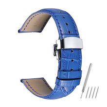 Ремешок из натуральной кожи ремешок для часов 14 16 18 20 22 мм синий цвет аксессуары для часов для женщин и мужчин ремешки для часов(Китай)