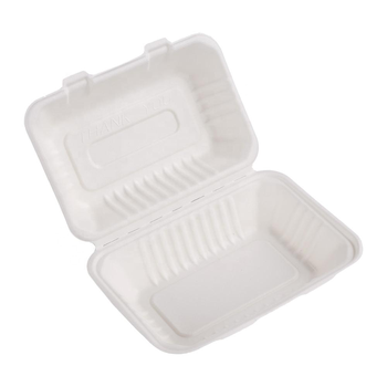 Eco Friendly Compostable Disposable Bagasse Take Away Food Box 9 Inches x 6 Inches