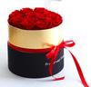 Черный с каймой золотистого цвета коробка, украшенное мозаикой из драгоценных камней, 12 розы