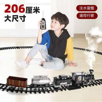 classical steam-electric rail train toys with music light and puffing smoke