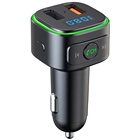 AGETUNR T46Q Bluetooth V5.0 mp3 player fm transmitter display voltage,2 USB Output,handsfree car kit change light read USB flash