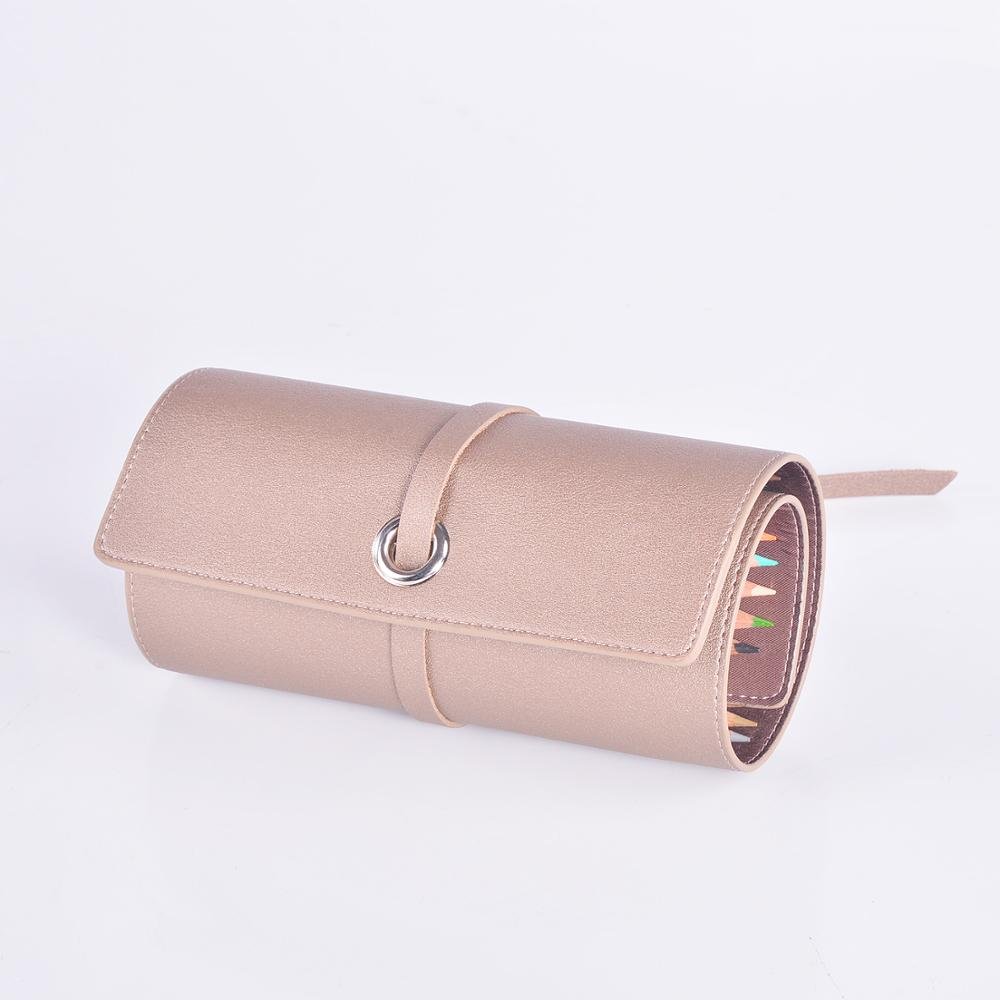 Travel Portable customized size pencil Roll Wrap Holder case in PU leather