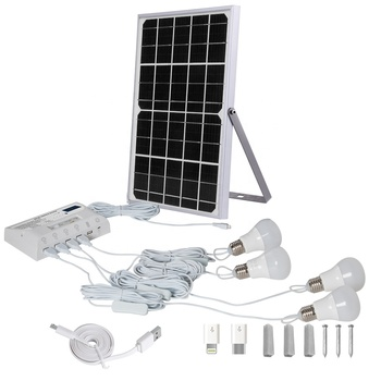 Green energy smart outdoor or indoor waterproof 4 bulbs mini solar panel home solar power auto lighting system