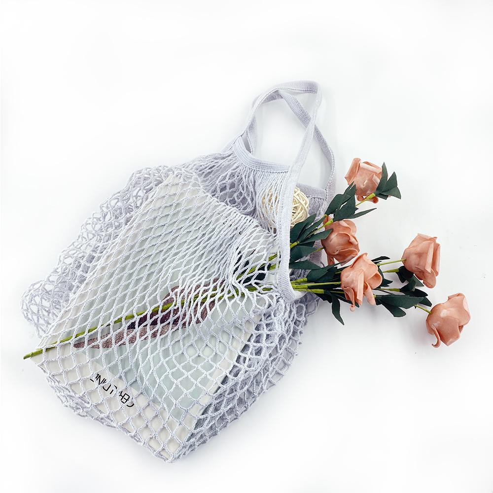 Индивидуальный Логотип, оптовая продажа, полая плетеная ручная сумка для покупок, многоразовая Органическая хлопковая маленькая Сетчатая Сумка